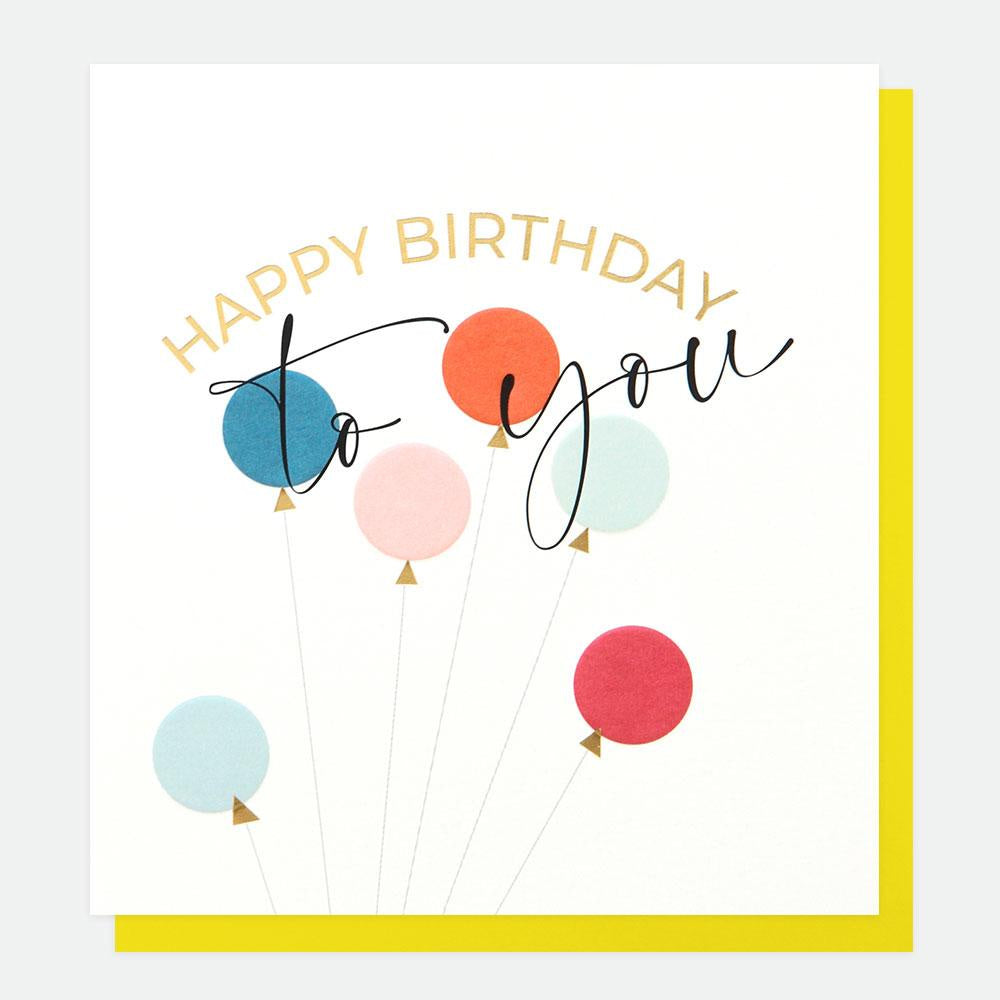 Happy Birthday To You Balloons Foil Card