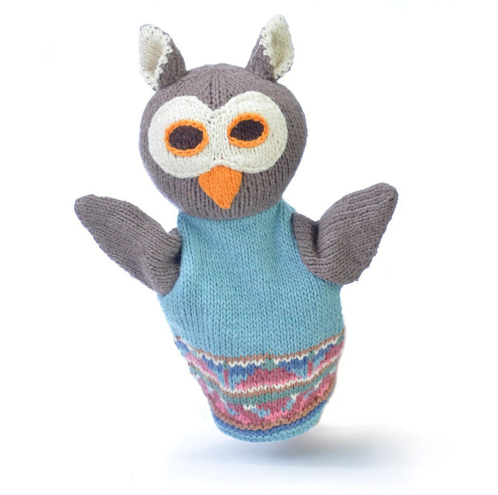 Owl Hand Puppet in Blue