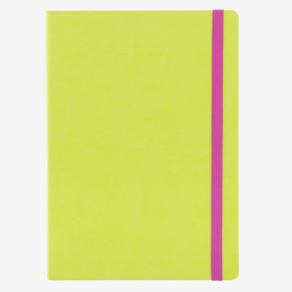 Large Lime Green Plain Notebook