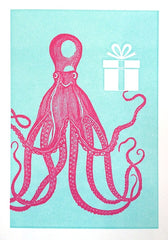 Pink Octopus Holding Gift Mini Birthday Card