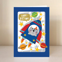 Happy Birthday Cat Rocket Lasercut Card