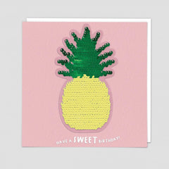 Have A Sweet Birthday Pineapple Sequin Patch Card