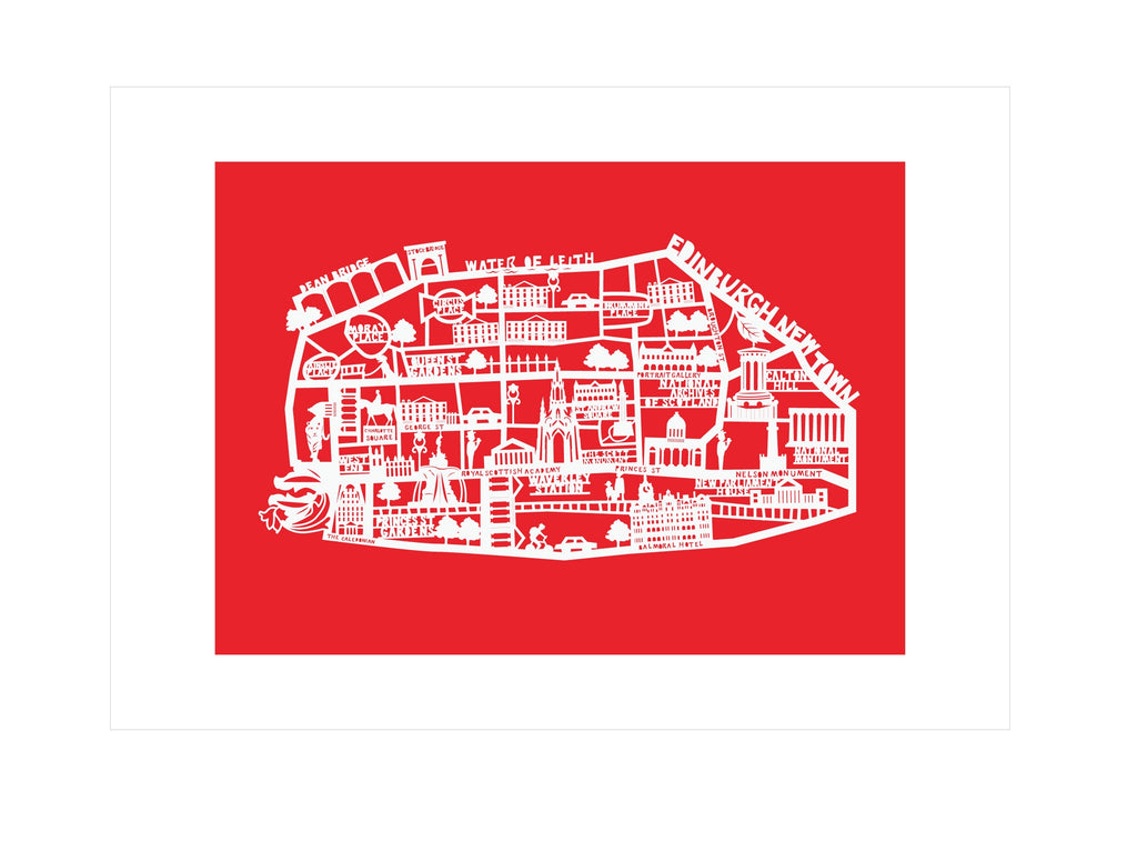 Lasercut A4 Edinburgh New Town Map - White on Red