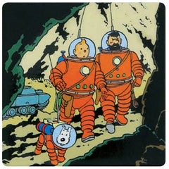 Tintin, Haddock and Snowy Moon Magnet Squared