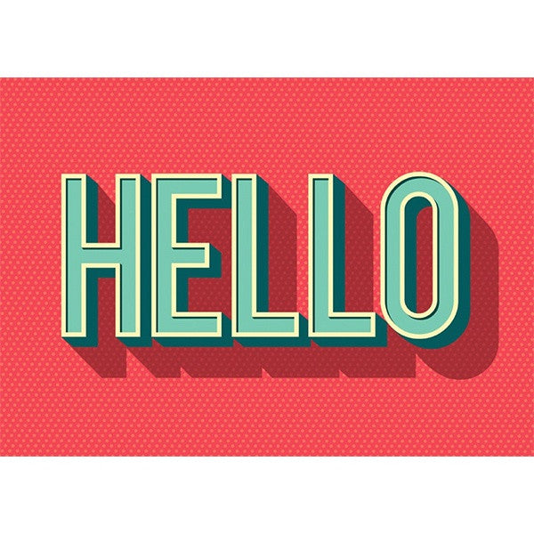 Hello Typography Postcard