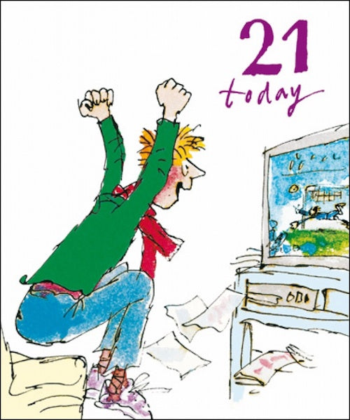 Football on TV Quentin Blake 21st Birthday Card