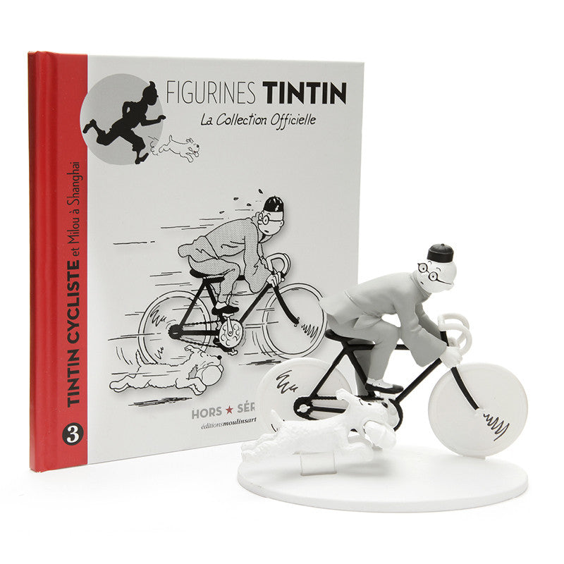 Monochrome Polyresin Figure Tintin And Snowy Bike in Shanghai