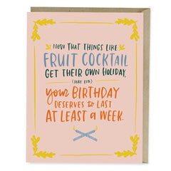 Fruit Cocktail Birthday Week Card