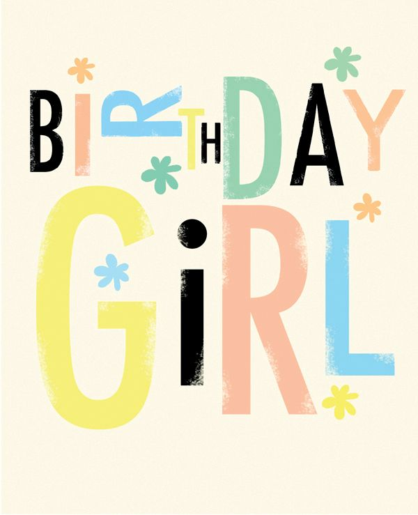 Birthday Girl Colourful Typography Card