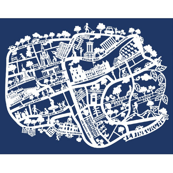Lasercut A4 Edinburgh -White On Navy