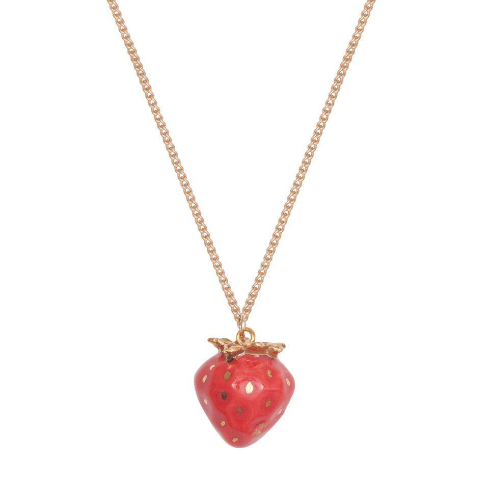 Gold Plated Necklace with Hand Painted Gold Leafed Tiny Strawberry