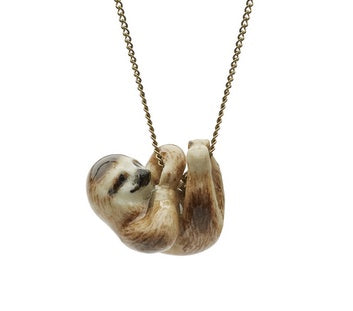 Silver Plated Necklace with Hand Painted Tiny Hanging Sloth Charm
