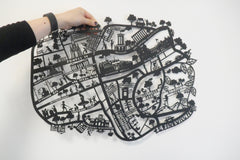 Edinburgh A2 Lasercut Map in Tube - Black