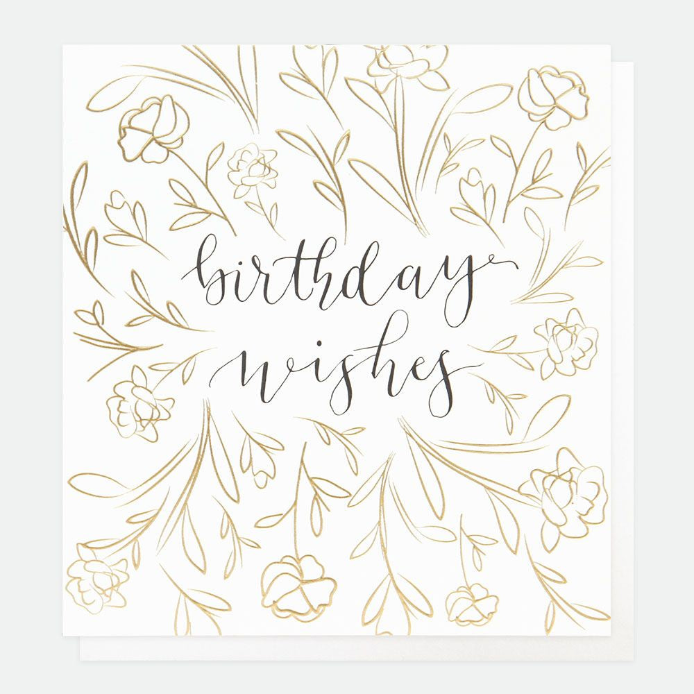 Birthday Wishes Gold Flowers Card