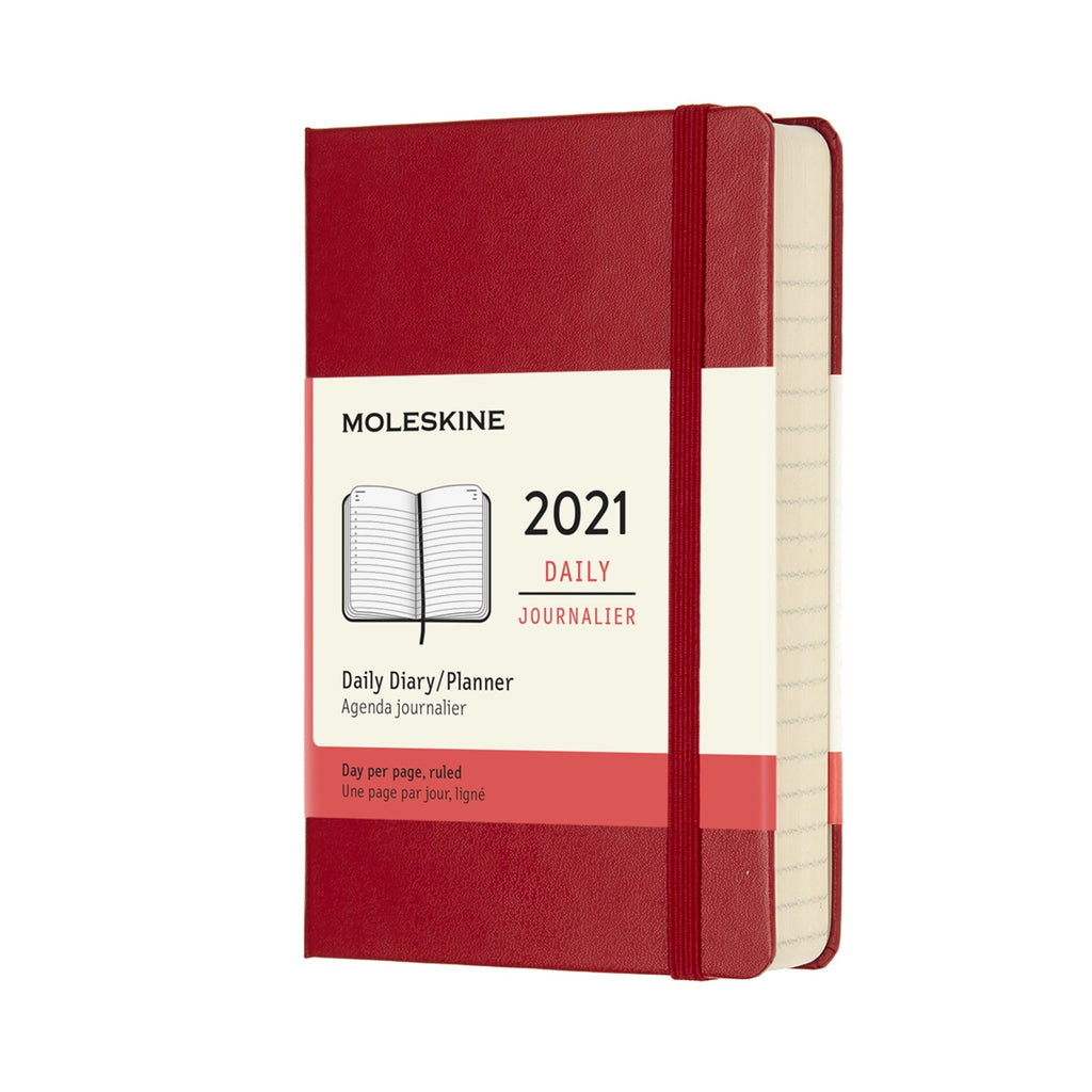 Moleskine 2021 Large Daily Planner Hardcover Red