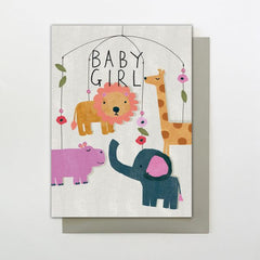 Baby Girl Animal Mobile Card