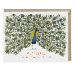 Peacock 'Hey Girl' Birthday Card
