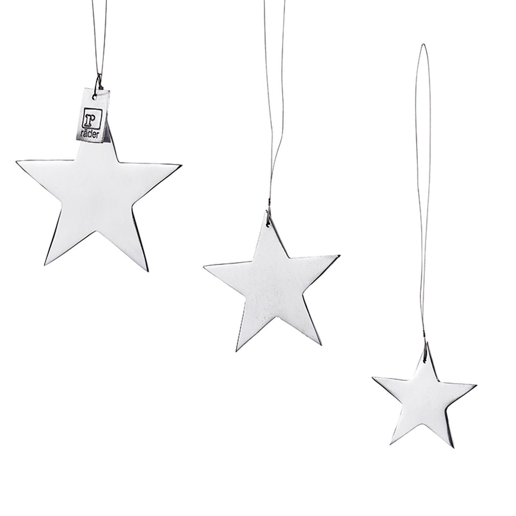 Silver Star Ornaments Set of 3