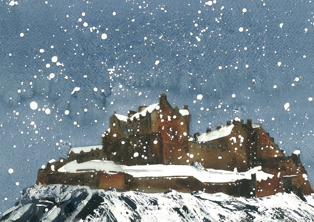 Snow On Edinburgh Castle Card