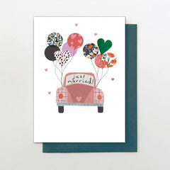 Just Married Car and Balloons Card