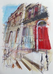 Red Door Chester Street Edinburgh Card by Lucy Jones