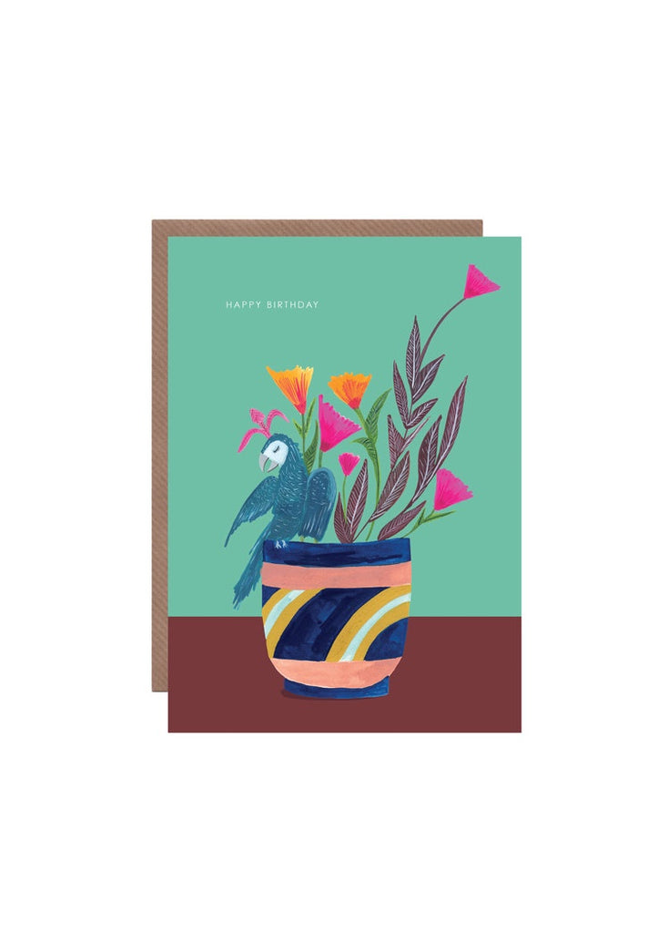 Plant and Parrot Birthday Card
