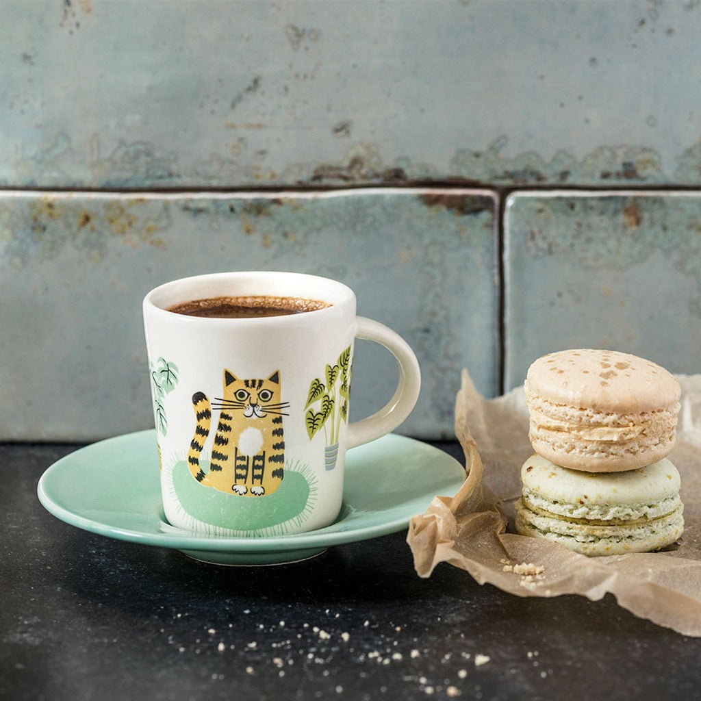 Cat Espresso Cup and Saucer by Hannah Turner