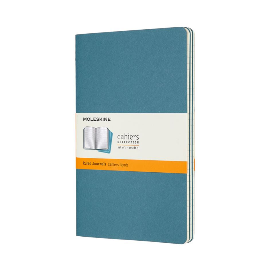 Moleskine Cahier Set of 3 Large Ruled Journals Brisk Blue