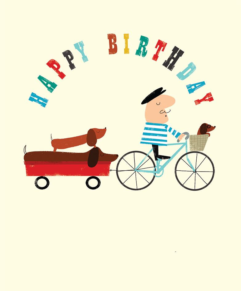 Happy Birthday Sausage Dog and Bike Card