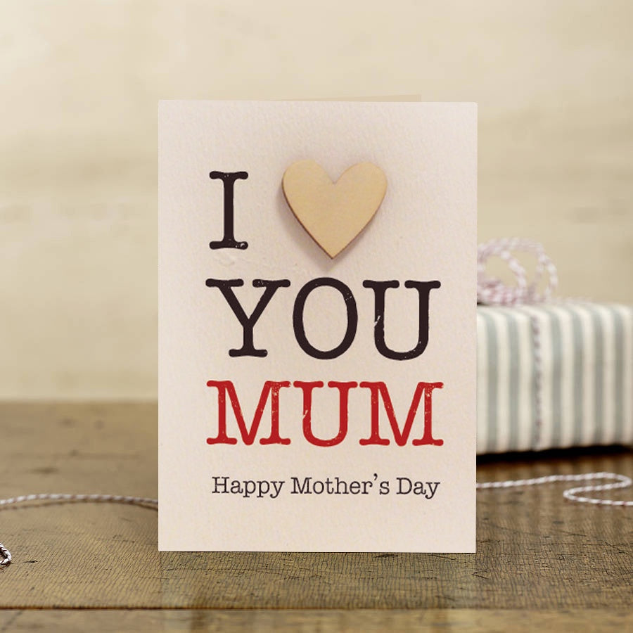 I Heart You Mum with Wooden Heart Card