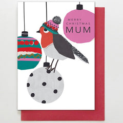 Mum Robin & Baubles Card