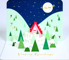 Season's Greetings Snowy Hills Christmas Pop-Up Card
