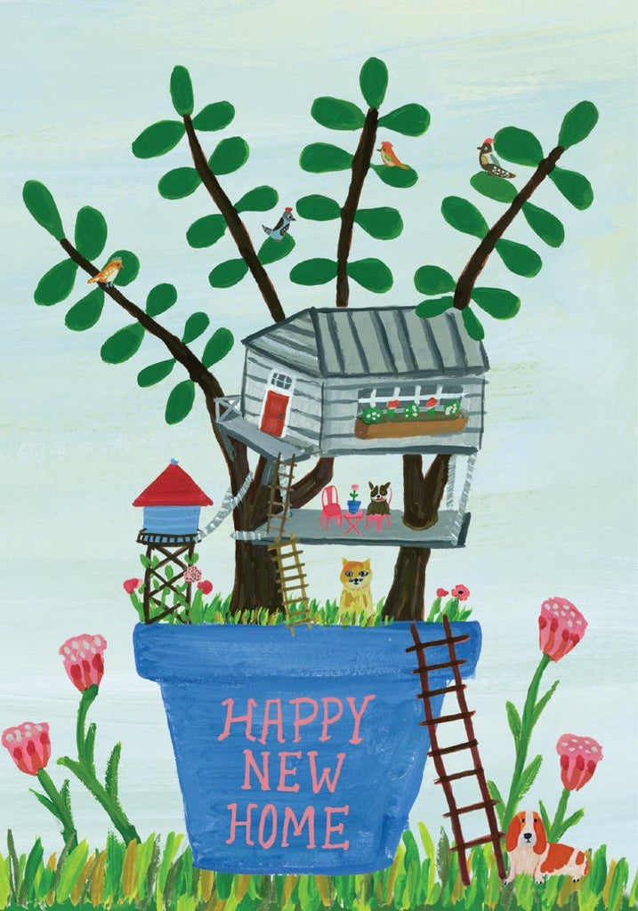 Flower Pot House Happy New Home Card
