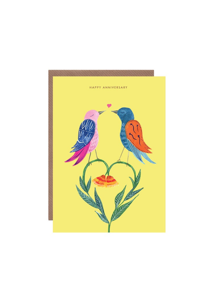 Love Birds Heart Anniversary Card