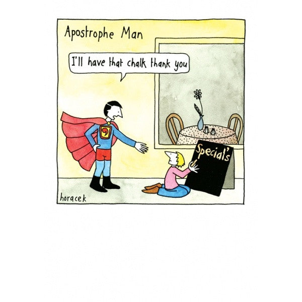 Apostrophe Man Card