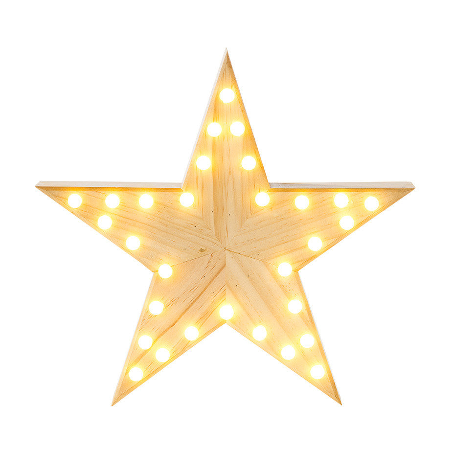 Nordic Christmas Wooden Star Light LED 33cm
