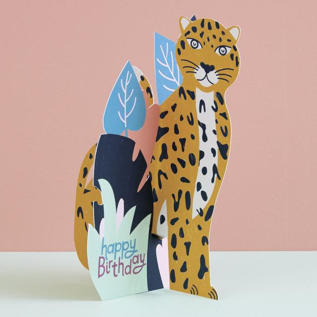Leopard Fold-Out Birthday Card