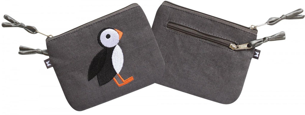 Grey Puffin Embroidered Emily Purse