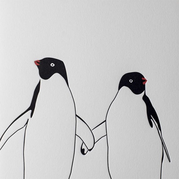 Penguins Holding Wings Letterpress Card
