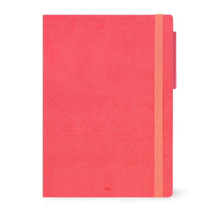 Large Daily Diary 2021 Neon Coral
