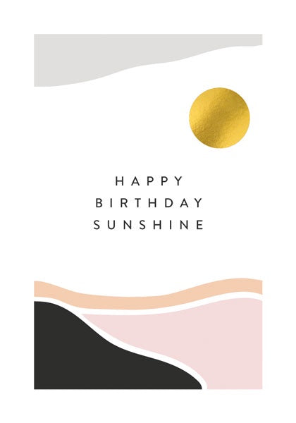 Happy Birthday Gold Sunshine Card