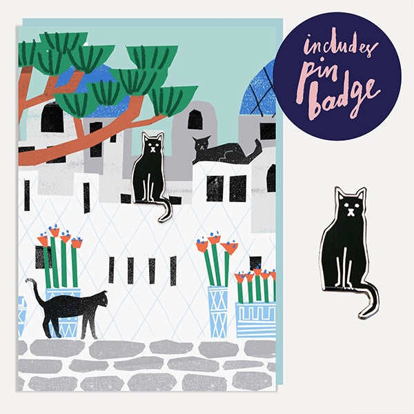 Grecian Cats Enamel Pin Badge Card