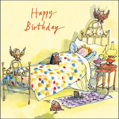 Quentin Blake Owl Sleepover Birthday Card