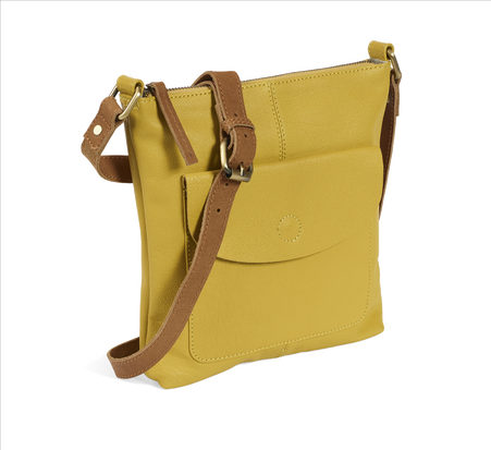 Mustard Leather Cross Body Bag