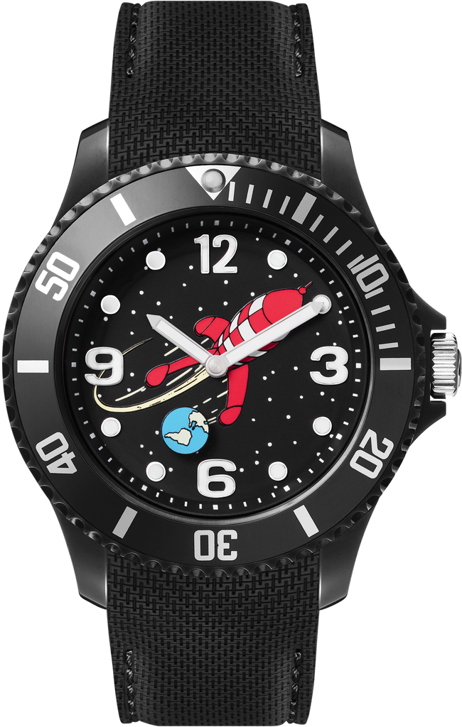 Tintin Watch - Destination Moon Rocket - Black