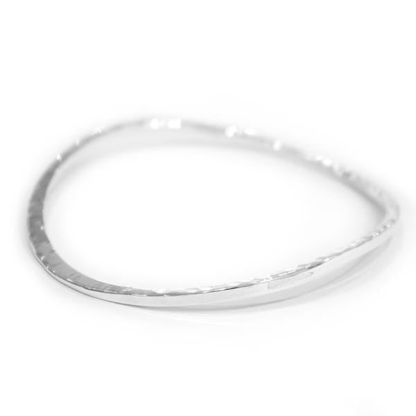 Battered Silver Curved Bangle