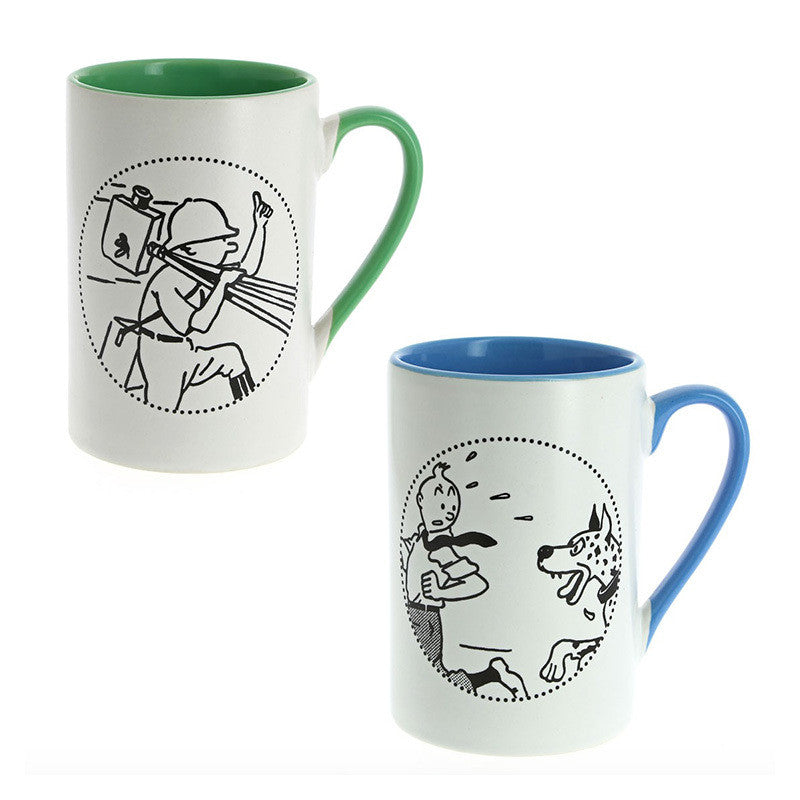 Tintin Congo and Great Dane Mug Duo