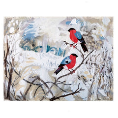 Bullfinches On A Branch Card