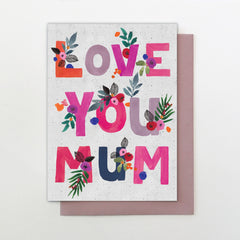 Love You Mum Lettering Mother's Day Card