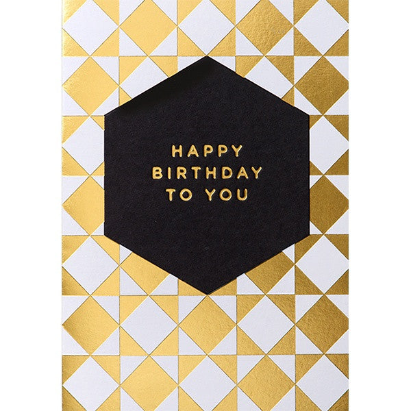 B/Day-Happy Birthday To You Gold Geometric Pattern
